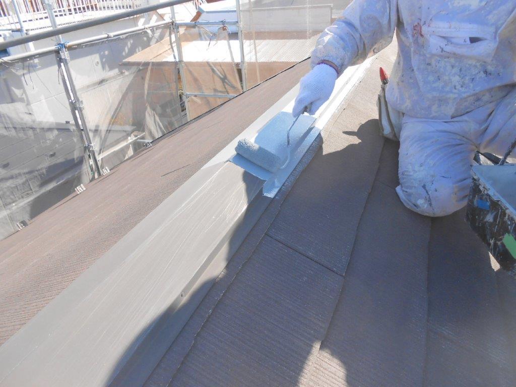 屋根 板金部の下塗り