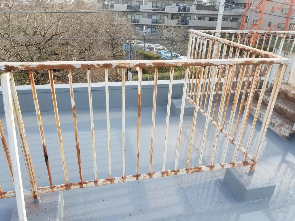 ケレン後の屋上鉄柵