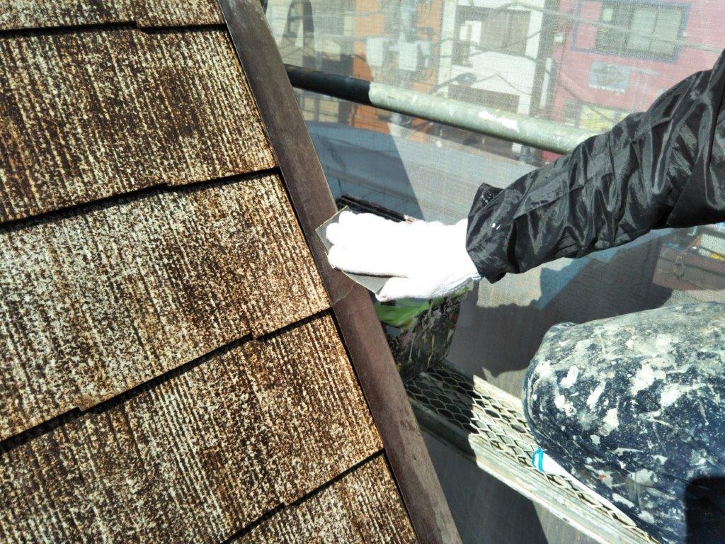 屋根板金部のケレン